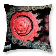 Gear Wheel And Chain Of Old Locomotive Throw Pillow by Matthias Hauser