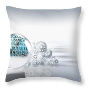 Gears Behind Earth Throw Pillow by Mike Agliolo