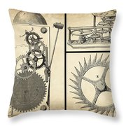 Gears Industrial Or Steampunk Collage Art Throw Pillow