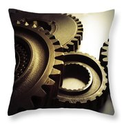Gears Throw Pillow by Les Cunliffe