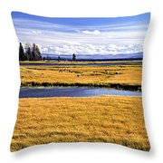 Geese At Yellowstone Lake Throw Pillow