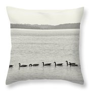 Geese In A Row Throw Pillow