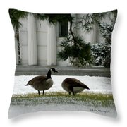 Geese In Snow Throw Pillow