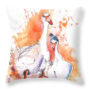 Geese In Spanish Winter Throw Pillow