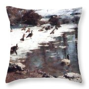 Geese On An Icy Pond Throw Pillow