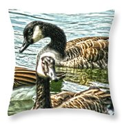 Geese On The Pond II Throw Pillow