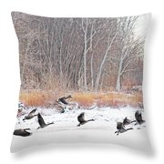 Geese Over Maumee River Throw Pillow