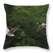 Geese Pair In Flight Throw Pillow