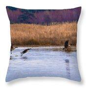 Geese Up And Away Throw Pillow