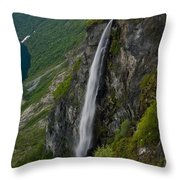 Geirangerfjord Waterfall Throw Pillow