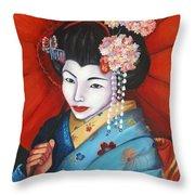 Geisha Girl Throw Pillow