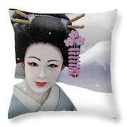 Geisha In Snow On Mt. Fuji Throw Pillow