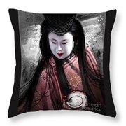 Geisha Kunoichi Throw Pillow