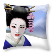 Geisha On Mount Fuji Throw Pillow