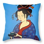 Geisha With Cup Throw Pillow