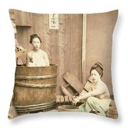 Geishas Bathing Throw Pillow
