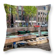 Geldersekade Canal In Amsterdam Throw Pillow
