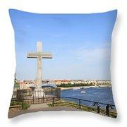 Gellert Hill Cross In Budapest Throw Pillow