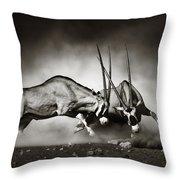 Gemsbok Fight Throw Pillow