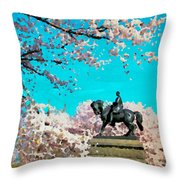 General In The Blossoms Throw Pillow