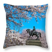 General In The Cherry Blossoms Throw Pillow