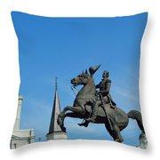 General Jackson Statue Throw Pillow