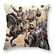 General Mcclellan At The Battle Throw Pillow by Henry Alexander Ogden