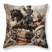 General Sheridan At The Battle Of Five Throw Pillow