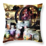 General Store With Candy Jars Throw Pillow