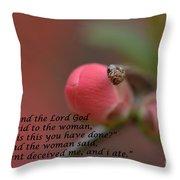 Genesis 3 Verse 13 Lookin For The Son Series Throw Pillow