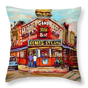Geno's Steaks Philadelphia Cheesesteak Restaurant South Philly Italian Market Scenes Carole Spandau Throw Pillow