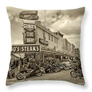 Geno's With Cycles Throw Pillow by Jack Paolini