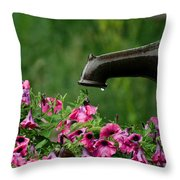 Gentle Rain - Old Water Pump - Pink Petunias - Casper Wyoming Throw Pillow