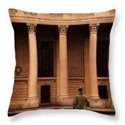 Gentleman In 18th Century Clothing Walking Throw Pillow
