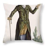 Gentleman In Green Coat, Plate Throw Pillow