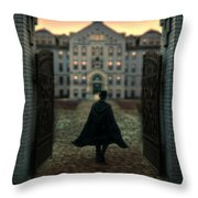 Gentleman In Top Hat And Cape Walking Through Gates Throw Pillow