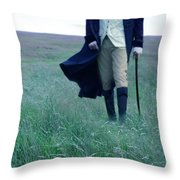 Gentleman Walking In The Country Throw Pillow
