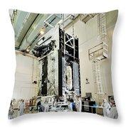 Geo-1 Satellite In Lab Throw Pillow