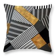 Geo Stripes In Gold And Black II Throw Pillow