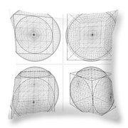 Geometric Intersection Of Cube And Sphere  Throw Pillow