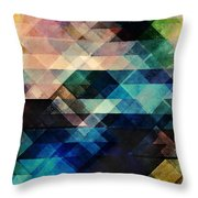 Geometric Textural Colorations Throw Pillow