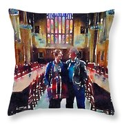 George And Chrissy At Hogwarts Throw Pillow