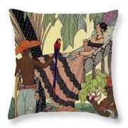 George Barbier. Spanish Lady In Hammoc With Parrot.  Throw Pillow