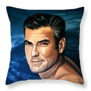 George Clooney 2 Throw Pillow by Paul Meijering