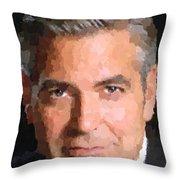 George Clooney Portrait Throw Pillow