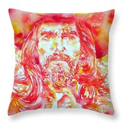 George Harrison With Hat Throw Pillow