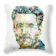 George Orwell Watercolor Portrait Throw Pillow