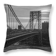 George Washington Bridge Frame Work Bw Throw Pillow