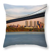 George Washington Bridge In Autumn Throw Pillow