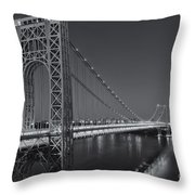 George Washington Bridge Twilight II Throw Pillow